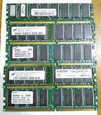 5xSticks of 256MB PC2700 333 MHz RAM DDR 168-Pin DIMM Desktop Computer Memory