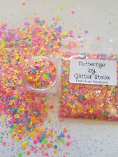 Nail Art Mixed Glitter ( Flutterbye ) 10g Bag Chunky Neon Butterfly Festival Mix