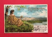 Künstler Litho AK von MAILICK Pfingsten 1902 Frau in goldenen Kleid ( 56937
