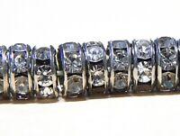 50 Glas Strasssteine Rondell 8mm Spacer Altsilber Metallperlen Schmuck R26