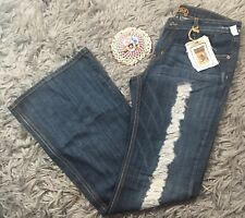 NWT Women's Carmar Denim Distressed Jeans Flare Wide Leg Size Waist 29 $208