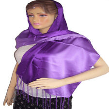 purple fringe long Scarf Satin Square Large Fashion Ladies Large Silken
