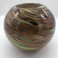 HQT Art Glass Hand Blown Round Vase Bowl Gold Green Purple Orange Colors