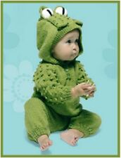 BA002 KNITTING PATTERN ALL IN ONE FROG BABY JUMPSUIT BABY GROW