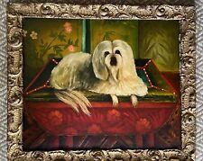 19th Century Folk Art Oil Painting Dog Shih Tzu Gilt Shell Frame