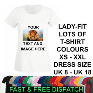 Personalised T-Shirt Ladies Image Picture Text Lady Fit Hen Do Party AnyOccasion