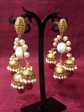 New Indian Pakistani Bollywood Pearl Golden Jhumki Jhumka Ring Bali Earring 1176
