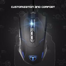 Programmable LED Light Up Gaming Mouse 7200DPI for PC Support Macro Editor Black