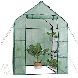Mini 6 Shelves 3 Tiers Walk In Door Outdoor Green House for Planter Portable