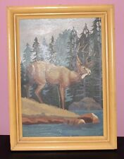 Deer Stag Buck mid century Paint By Number PBN  Nicely done framed