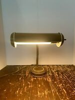 Vintage Mid Century Modern Brown and White Gooseneck Desk Lamp