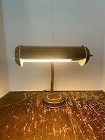 Vintage Mid Century Modern Brown and White Gooseneck Desk Lamp