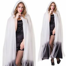 Deluxe Ladies Hooded Layered Cape Halloween Fancy Dress Ghost Witch Cloak