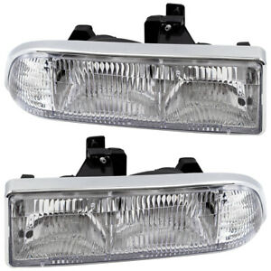 Headlights Set fits Chevrolet S10 Pickup Blazer Pair Headlamps Housing Assembly
