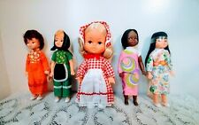 Lot of 5 Vintage Dolls 8 1/2'' Vinyl Plastic Made in Hong Kong New