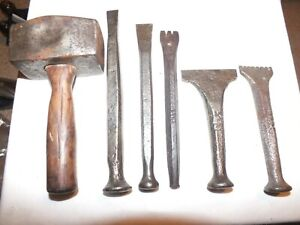 STONE CARVING / STONE MASONS CHISELS x  5 AND CLUB HAMMER - VINTAGE ITEMS