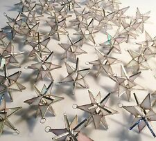 Lot of 25 !!  Stained Glass Moravian STARS Iridescent WHITE ! Christmas