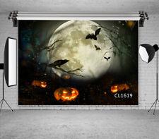 Halloween Night Horror Pumpkin Crow Bats Backdrop 7x5ft Vinyl Photo Background