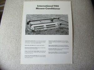 IH International 1190 mower conditioner specification sheet brochure