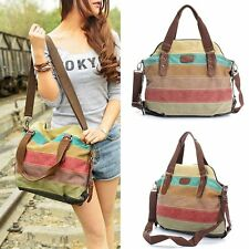 Women Girls Canvas Shoulder Bag Satchel Crossbody Handbag Tote Purse Messenger w