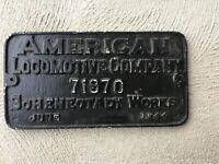 American Locomotive Company 71970 Schenectady Works BUILDERS PLATE 1944 Aluminum