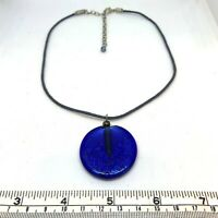 Glass Disc Pendant Statement Necklace Cobalt Blue