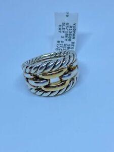 David Yurman Wellesley Ring Three Row Sterling Silver 18K Yellow Gold Sz 6