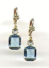 GORGEOUS AQUAMARINE Aqua Blue Earrings with Swarovski crystals 14K Gold gp Lever
