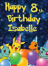 Ba POKEMON BIRTHDAY CARD PERSONALISED SON DAUGHTER 5th 6th 7th 8th 9th 10th 11th