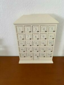 RARE Restoration Hardware IVORY House Shaped Advent Calendar 25 Doors Solid Wood