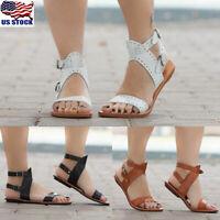 Women Espadrille Ankle Strap Buckle Sandals Summer Beach Open Toe Flats Shoes US