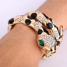 Coiled Snake Black Enamel Bracelet Bangle Cuff Animal Gold Plated Women Gift