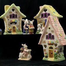 Easter Village 3 House 9 Piece Set Tea Light International Bazaar Bunnies New