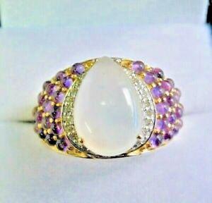 Vintage 9 Carat Gold, Moonstone, Amethyst and Diamond Ring Size M -  M.1/2