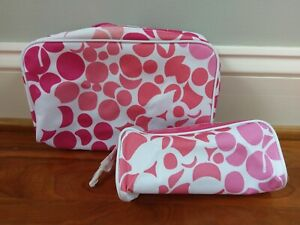 Clinique MakeUp Bag Travel Case Pink Flower Fuchsia Dot Patent Leather Zip 2 pc