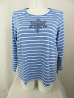 Quacker Factory Size 1X Blue Stripe Sequin Snowflake Long Sleeve T-Shirt