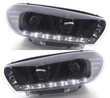 VW Scirocco Mk2 2008 onwards Black Projector R8 LED DRL headlights