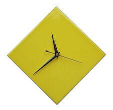 Contemporary Diamond Yellow Ceramic Wall Clock