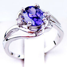 Jewelry Rings Size 9 Purple Amethyst Crystal Women's White Gold Filled Wedding