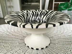 PEDESTAL WOOD BOWL HAND PAINTED WITH ZEBRA STRIPES FRUIT BOWL