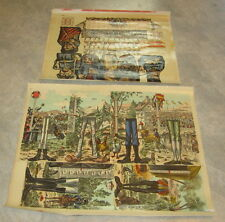 Set of 2 Old c.1900 Antique - French Game PRINTS - Caisse Des Paris