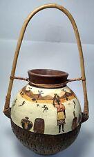 Vintage African Water Jug Art Pottery Wood Handled
