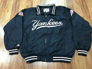 MENS 2XL - Vtg MLB New York Yankees Majestic Fleece Quilted Full Zip Jacket