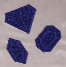 Embroidered Glitter 3-Pc Set Sapphire Blue Diamond Gem Applique Patch Iron On
