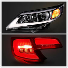 LED Headlights & Red Clear Tail Lights For Toyota Camry 2012-2014 DRL Projector
