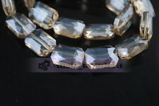 12~26mm  Faceted Glass Crystal Charms Charm Square Loose Spacer Beads Findings