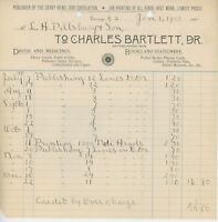 1900 Charles Bartlett Billhead Boston MA Drug Store Books Stationery Medicine