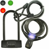 Lumintrail Bicycle 4 Digit Combination Cable Lock and U-Lock with Mount Brackets
