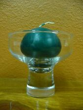 Clear Glass Pedestal Candle Holder With Green Ball Candle