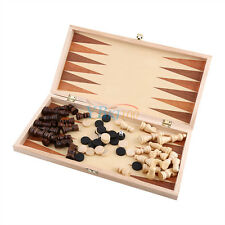 Checkers Wooden Foldable Chess Set Pieces Wood Board Storage Box Children